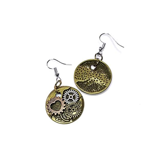 Joji Boutique Steampunk Collection: Antiqued Mix-Tone Gear & Cog Circle Drop Earrings 4
