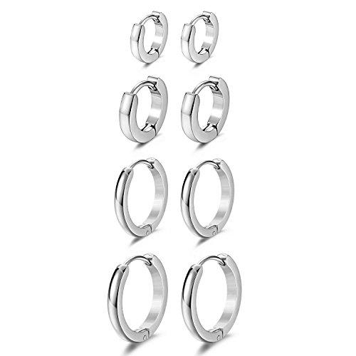 JewelrieShop Hoop Earrings Set Gold Surgical huggie Earrings, Hypoallergenic Huggie Ear Piercings Endless Huggie Hoop Earrings for Men Earrings (Gold, Black, Stainless Steel Hoop Earrings)