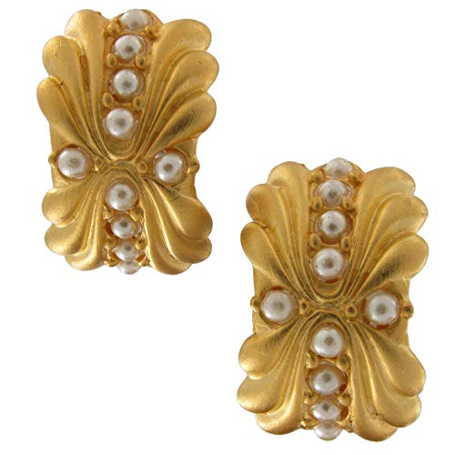 Large Faux Pearl Matte Gilt Gold Tone Pierced Earrings Made in USA Earrings For Women Set ()