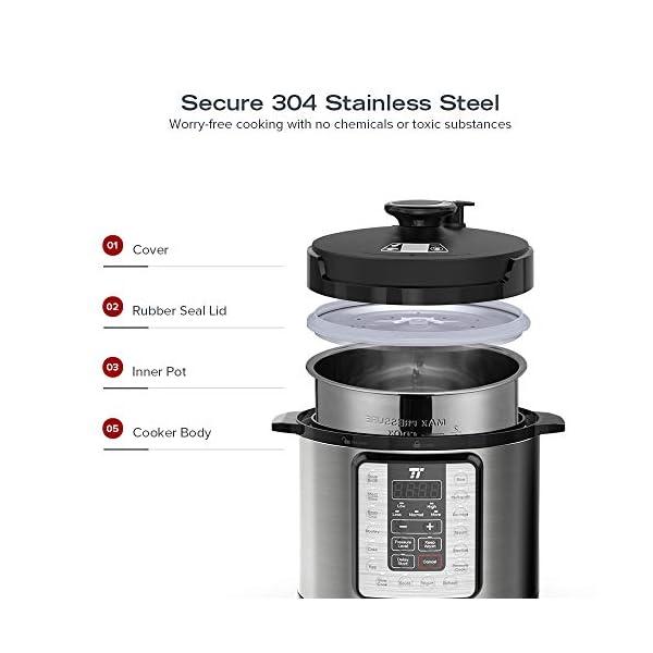 TaoTronics TT-EE006 Electric Pressure Cookbook 6QT, 10-in-1 Multi-Use, 16 Programs, Slow, Rice Cooker, Steamer, Sauté… 4