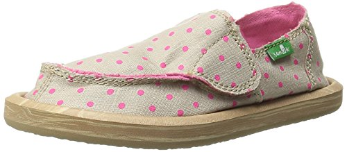 Sanuk Kids Hot Dotty Girls Sidewalk Surfer Shoe (Toddler/Little Kid/Big Kid), Natural/Hot Pink Dots, 6 M US Big Kid