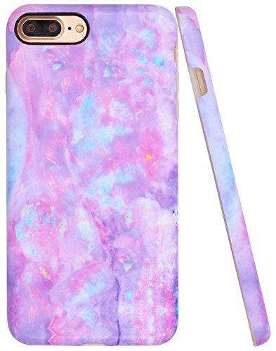 Iphone 7 Plus Case, Iphone 8 Plus Opal Case, A-Focus Frosted Slim Pastel Gradient Colorful Purple Blue Marble Anti-Finger Silicone Case for Iphone 7 Plus/Iphone 8 Plus 5.5 - Matte Dream Violet