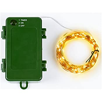 31.5Ft Battery String Lights/120 Micro LED Starry Lights/Waterproof 3C Battery Case with Timer/Warm White/Copper Wire ¡­