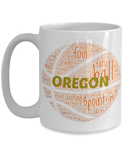 OREGON DUCKS Basketball mug – coffee tea cup for college sports fan – ceramic team gift -- NCAA college basketball -- 11 ounce or 15 ounce white