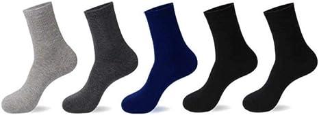 5 Pares de Calcetines Casuales Hombres Calcetines de algodón para Hombres Secado rápido Calcetín Largo Blanco Negro Tamaño Grande, 39: Amazon.es: Deportes y aire libre