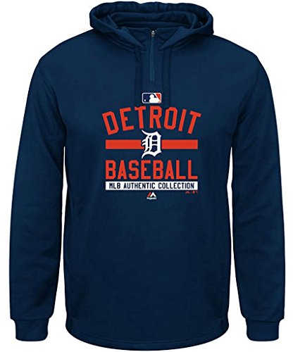Sweatshirt Base Therma (Detroit Tigers MLB Mens Authentic Collection Colorblock 1/4 Zip Hoodie Navy Big Sizes (4XL))