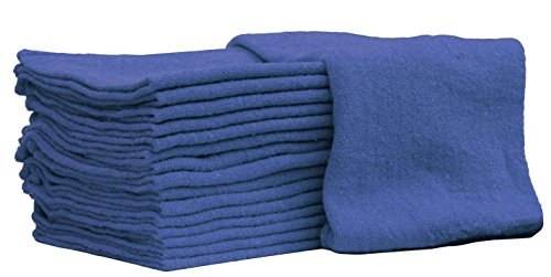 Auto-Mechanic Shop towels, Rags by Nabob Wipers 100% Cotton Commercial Grade Perfect for your Home,Garage & Auto 12x12 inches, 100 Pack (Blue) ()