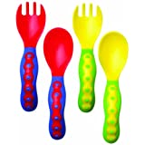 Nuby 535252 Angled Fork  and  Spoon, 4-Pack