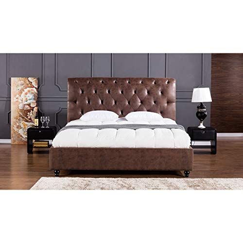 American Eagle Furniture B-D061-CK.V2 Brooks Mid Century Modern Upholstered Bed with Tufted Headboard, California King Size, Brown