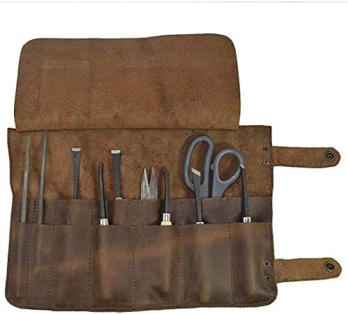 Hide Drink, Leather Snap Tool Roll Up Bag 14 Slots , Portable Carry Case for Barbers, Salon Storage Organizer Pouch, Vintage Style, Handmade Includes 101 Year Warranty Bourbon Brown
