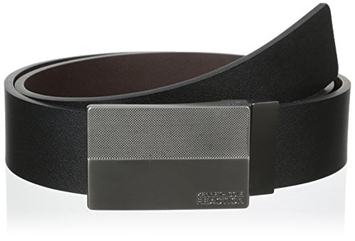 Kenneth Cole REACTION Men's 1 3/8 in. Flat Reversible Textered Plaque Belt, Black/Brown, 34