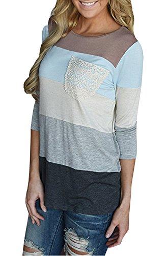 Grigio Autunno Maniche 3 Cucitura Bluse Donna Shirt Maglietta Camicie Collo Moda Rotondo Tops Lungo Colorati T 4 Blouse JackenLOVE Casual fnH1dqwH