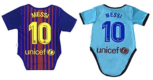 New Lionel Messi #10 Soccer Jersey Baby Infant and Toddler Onesie Romper Premium Quality (3-6, Pack of 2) ()