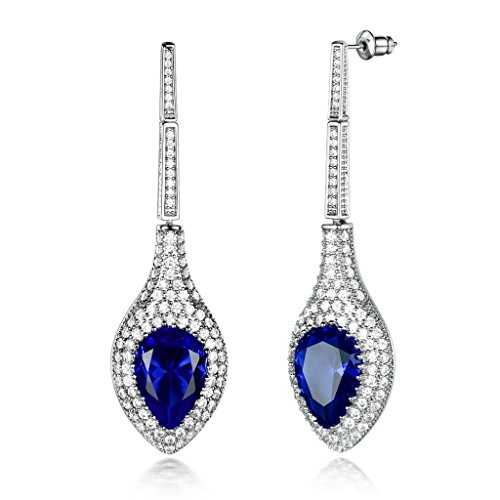 GULICX Silver Tone Blue Teardrop Crystal Pear Drop Long Dangle Earrings for Women