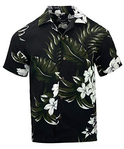 Tropical Luau Beach Floral Print Men's Hawaiian Aloha Shirt (Small, Floral -