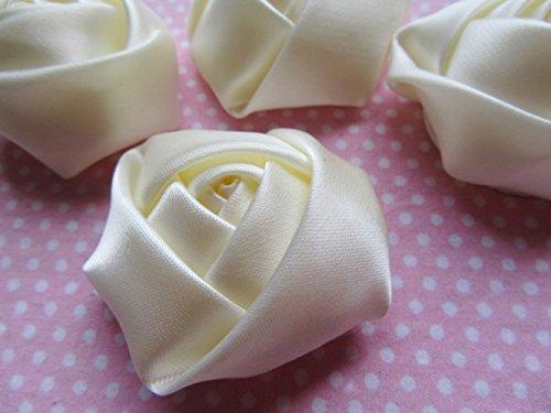Ivory Satin Rose (YYCRAFT Pack Of 20 Satin 4d Rose 2