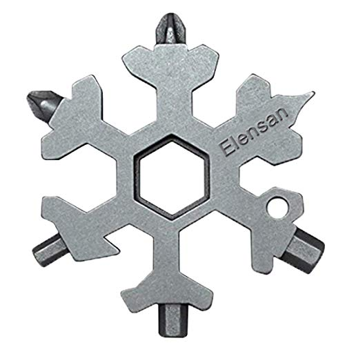 18-in-1 Snowflake Multi-tool, Keychain screwdriver -Bottle opener,Outdoor Wrench Multi-tool STANDARD/METRIC Snowflake Wrench Cool gadgets,Great Christmas gift, Father'day Gift. - (Standard, Stainless ()