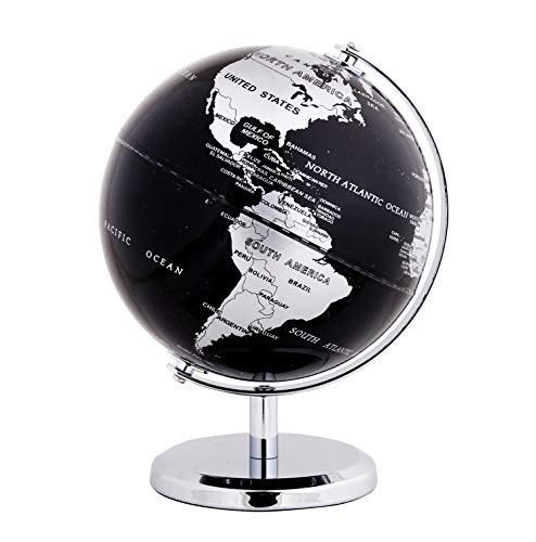 Exerz Metallic World Globe (Dia 5.5-Inch / 14 cm) Black - Educational/Geographic/Modern Desktop Decoration - Stainless Steel Arc and Base/Earth World - Metallic Black - for School, Home, and Office