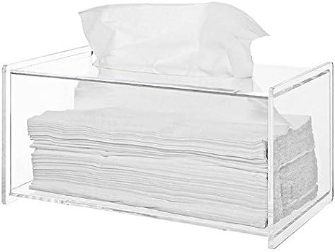 Sooyee Clear Acrylic Modern Bathroom Facial Tissue Dispenser Box Cover Decorative Rectangular Napkin Holder 94x472x46 Inches