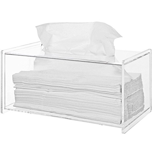 (Sooyee Clear Acrylic Modern Bathroom Facial Tissue Dispenser Box Cover, Decorative Rectangular Napkin Holder (9.4x4.72x4.6 inches))
