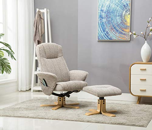 The Monaco Swivel Recliner Chair with Heat & Massage Function Wheat Fabric