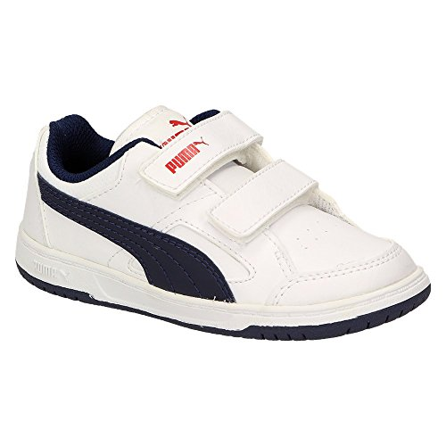 Puma Rebound v2 LO Kids - Zapatillas de Material Sintético para niño Blanco white-peacoat-high risk red Blanco - white-peacoat-high risk red