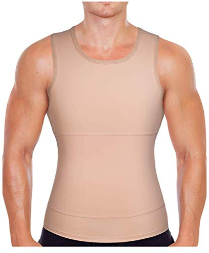 Gotoly Men Compression Shirt Shapewear Slimming Body Shaper Vest Undershirt Weight Loss Tank Top (Beige, 2XL: Fit Waist 36.2-38.1 -