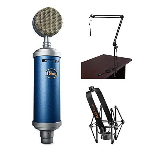 (Blue Bluebird SL Large-Diaphragm Condenser Studio Microphone with BAI-2X Two-Section Broadcast Arm & SSM-BC10 Microphone Shockmount Bundle)