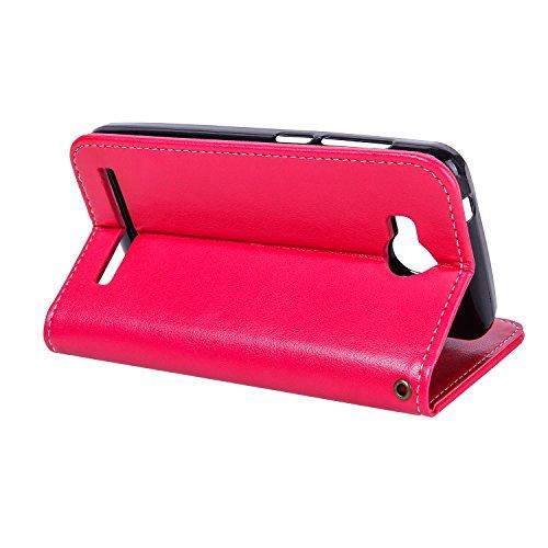 Funda Huawei Y3 II / Y3 2 Case, Ecoway pintado modelado Embossing Cuero PU Función Stand Fundas protectoras con tarjeta Slot Holder Carpeta de diseño de libro Desmontable correa de mano Función de Sop big Red