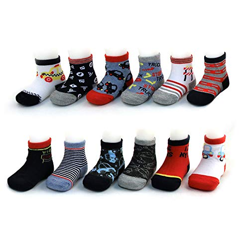 (Rising Star Baby Boys Assorted Color Designs 12 Pair Socks Set, Multi-Color, Age 0-24M (6-12 Months, Cars Design Collection))