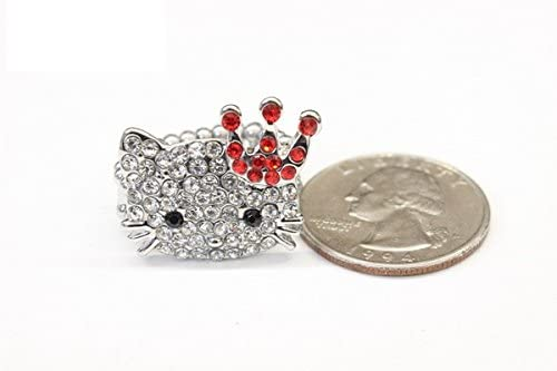 Urbandesign/_Ring Lovely Cute Crystal Rhinestone Hello Kitty Red Crown Style Adjustable Ring For Kid Girl Women