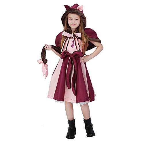 Girls Alice in Wonderland Cat Halloween Costume Kids Holly Cheshire Anime Stage Dress,Purple XL
