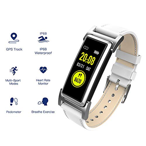 Waterproof Health Tracker, Fitness Tracker Color Screen Sport Smart Watch,Activity Tracker with Heart Rate Blood Pressure Calories Pedometer Sleep Monitor Call/SMS Remind for Smart phones ,White (Via Chip Set Ram)