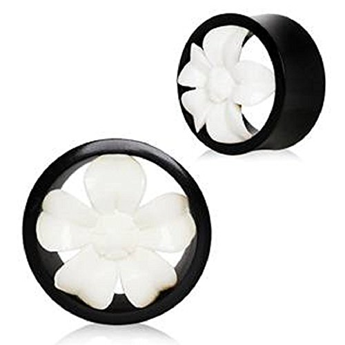 Natural Organic Buffalo Bone & Horn Flower Blossom Tunnel WildKlass Plug (1/2