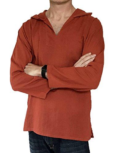 Men's Hoodie Hippie Shirts Beach 100% Soft Cotton Top Yoga Shirt Boho (Medium, ()