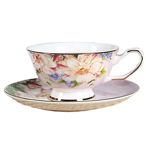 (ufengke European Bone China Coffee Cups, Ceramic Afternoon Tea Cup With Saucer, Beautiful Rose Flower Printing, Gift Cups For Girls, Pink)
