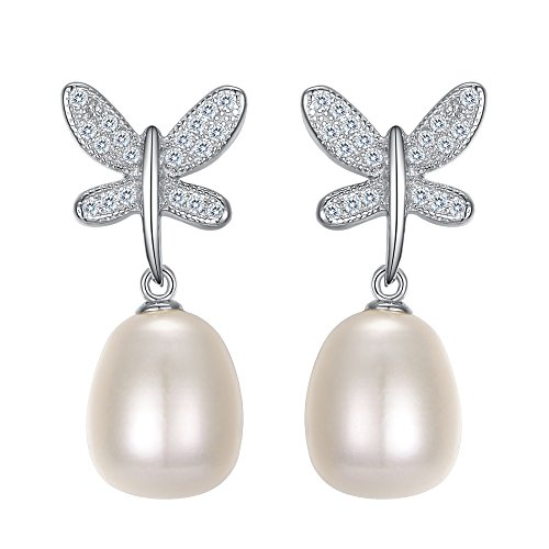 FANZE 925 Sterling Silver CZ Cream Freshwater Cultured Pearl Dragonfly Vintage Bridal Dangle Earrings