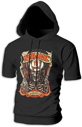 Tシャツ シャツ ティーシャツ スウェットシャツ パーカー ストレッチ メンズ 半袖 フード付き ハンク ウィリアムス スポーツtシャツ 吸汗速乾 トレーニング ジムtシャツ 通気性 黒