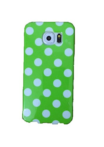 Galaxy S6 Case,Newstore Green+White Polka Dot TPU Rubber Skin Case Cover Protective For Samsung Galaxy S6 With Free Packing With Newstore Trademark gifts,Not Fit For Galaxy S6 Edge