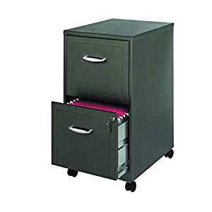 """Space Solutions 2-Drawer Metal File Cabinet with Wheels, Square Embellished Drawers, 18"""" deep - Metallic Charcoal"""