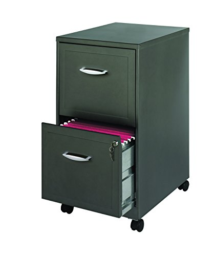 Office Dimensions 18'' Deep 2 Drawer Mobile Metal File Cabinet, Square Embellished Drawers, Metallic Charcoal by Space Solutions