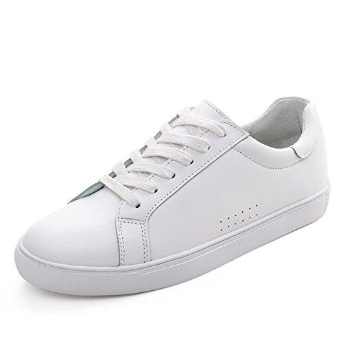 Blanco de cuero zapatos de mujer/Versión coreana de los zapatos de fondo plano/Blanco zapatos de las mujeres/Calzado deportivo y ocio/Zapatos de mujer D