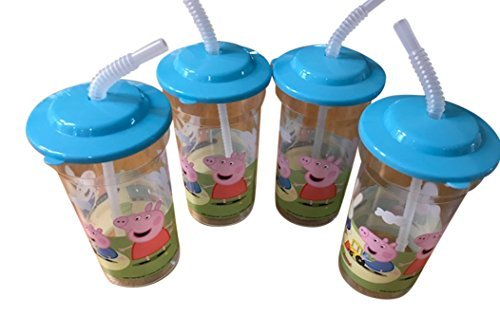Peppa Pig 16 ounce Sports Drink Cup With Attached Straw. Lid - 4 Pack -