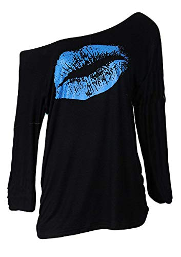 Smile fish Women Casual Oversized Sexy Lips Print Off Shoulder T-Shirt (Long Sleeve Black-Blue,XL)