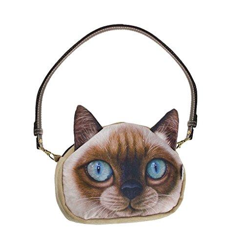 Mujeres Señoras Niñas Cute Cara de Gato Cara Animal Tema Bolso Lovely Cat Head Bolso de Estilo Crossbody Bolsos de Compras Embragues Blue Eyes
