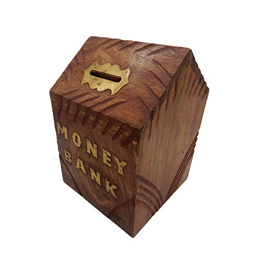 WhopperIndia Handcrafted Wooden Hut Shape Money Bank Coin Storage Toy Bank with Key Lock Makes a Perfect Unique Gift for Children 6 Inch