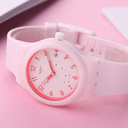 Amazon.com: Swatch Sistem Blush SUTP402 Matte Pink Silicone Quartz Fashion Watch: Swatch: Watches