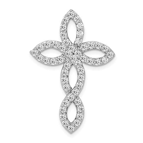 925 Sterling Silver Cubic Zirconia Cz Cross Religious Pendant Charm Necklace Passion Fine Jewelry Gifts For Women For Her ()