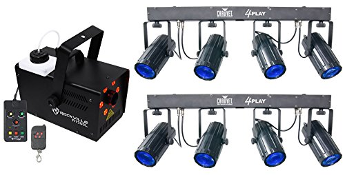 2) Chauvet DJ 4Play DMX-512 LED Light Beam Effect Systems+Fogger w/Lights/Strobe - Moonflower Rotating Led Effect