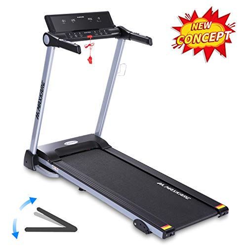 MaxKare Folding Treadmill Electric Motorized Running Machine with 15 Pre-Set Programs 2.5HP Power 8.5 MPH Max Speed White LED Display and Mobile Phone Water Bottle Holder for Indoor Exercise
